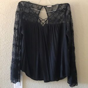 Black Lace Hollister Top